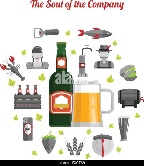 Beer Concept Flat - Stock Image