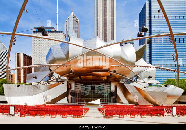 Jay Pritzker Music Pavilion, Chicago, Illinois - Stock Image