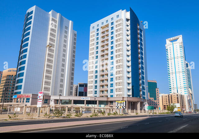 Manama, Bahrain - November 21, 2014: Modern architecture, office buildings of Manama city, Capital of Bahrain. Middle - Stock Image
