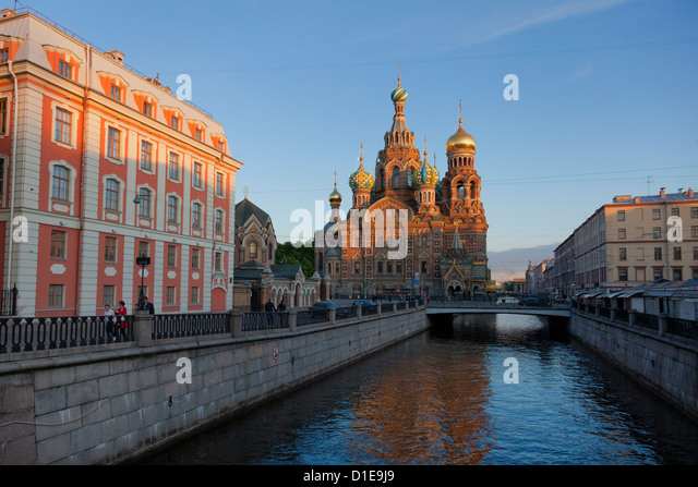 Church on Spilled Blood, UNESCO World Heritage Site, on the Kanal Griboedova, St. Petersburg, Russia, Europe - Stock Image