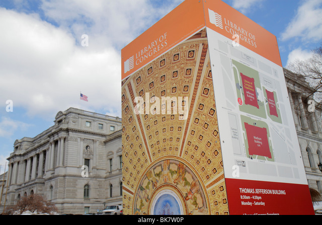 Washington DC Capitol Hill Library of Congress Thomas Jefferson Building Beaux-Arts architecture exterior sign signage - Stock Image