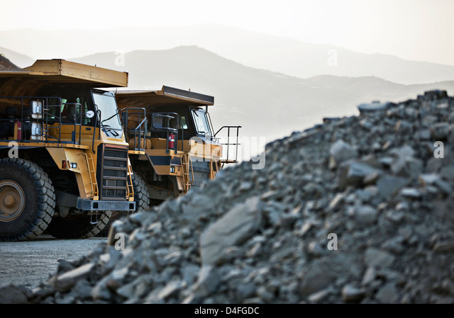 Machinery parked in quarry - Stock Image