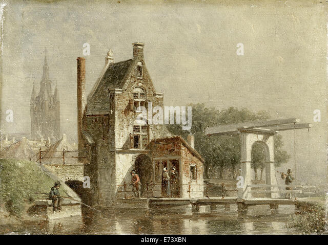 Cow Gate in Delft - by Petrus Gerardus Vertin, 1850 - 1892 - Stock-Bilder