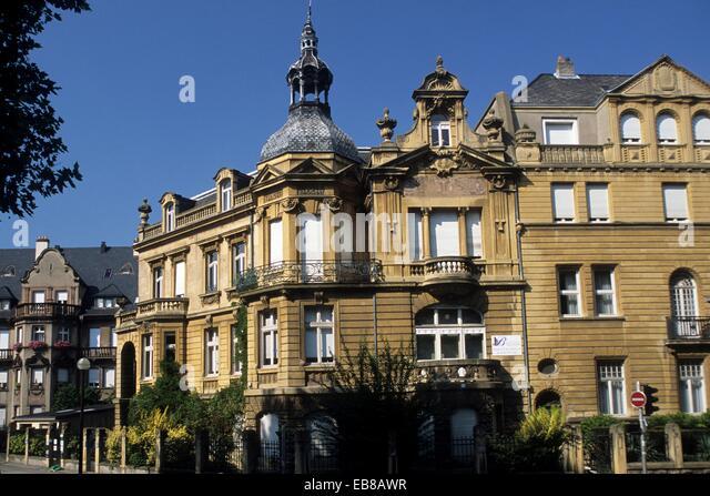 buildings in the Foch Avenue, German imperial area, Metz, Moselle department, Lorraine region, France, Europe - Stock Image