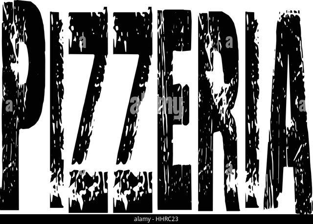 Pizzeria text Sign - Stock Image