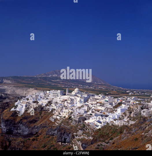 View of Fira, Santorini, The Cyclades, South Aegean, Greece - Stock-Bilder