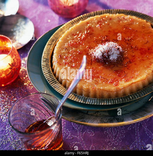 Semolina pudding with saffron - Stock Image
