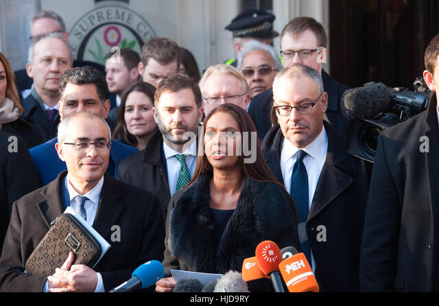 London, UK. 24th January 2017.Gina Miller speaking after the Supreme Court dismissed the government's appeal - Stock Image