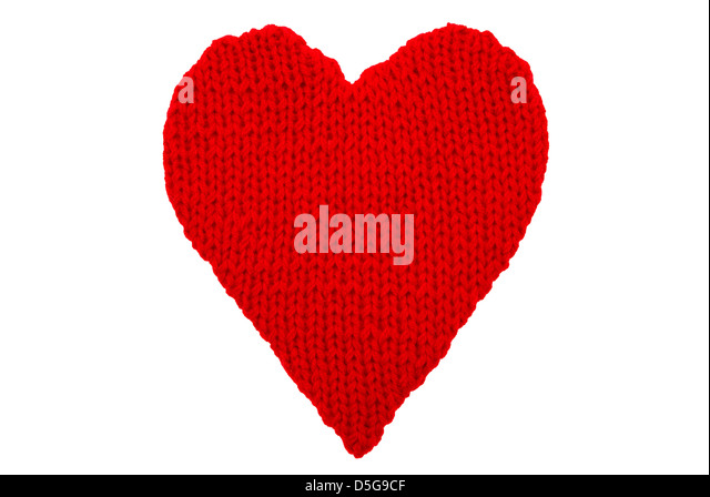 woollen heart made on wires isolated on white background - Stock Image