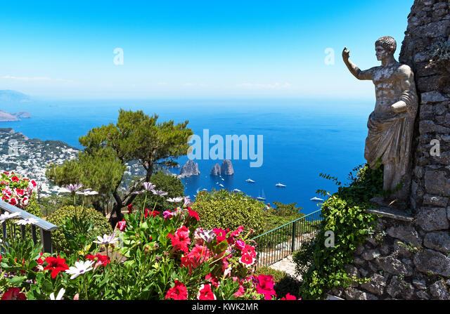 statue of emperor ceasar augustus stands at the summit of monte solaro on the island of cpari in the gulf of naples, - Stock Image