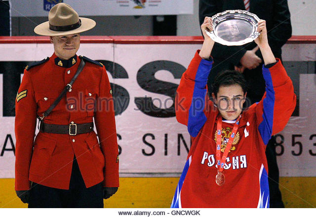 Russia's Nikita Filatov holds the trophy after beating Slovakia in the bronze medal game at the 2009 IIHF World - Stock Image