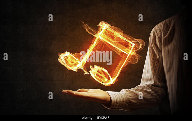 Fiery Treble Clef In Rainbow Flames: Bass Clef Stock Photos & Bass Clef Stock Images