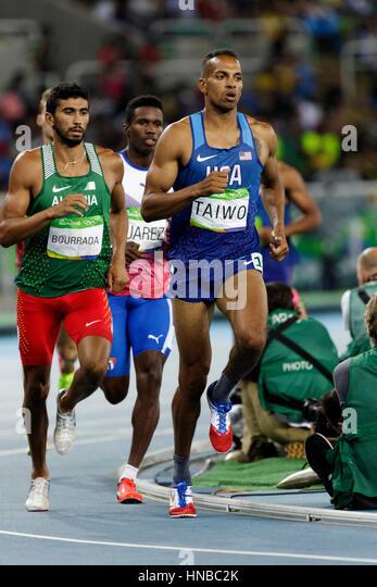 Rio de Janeiro, Brazil. 18 August 2016.  Athletics, Jeremy Taiwo (USA) and Larbi Bourrada competing in the Decathlon - Stock Image