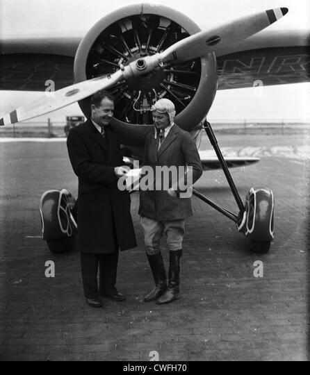 James Mattern, noted aviator and Miss Winifred Hatzfeld of Rye, NY, 1934 - Stock Image