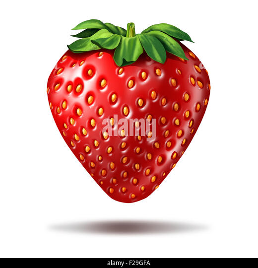 Strawberry fruit illustration on a white background with a shadow as a delicious ripe fresh organic berry with vibrant - Stock-Bilder