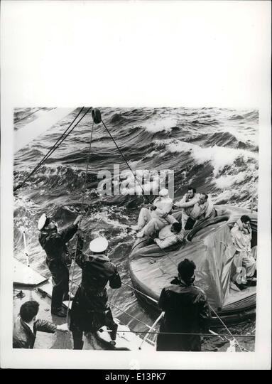 Mar. 22, 2012 - British Official Photograph-Admiralty. Issued by Central Office of Information.: Rough Seas Foil - Stock-Bilder