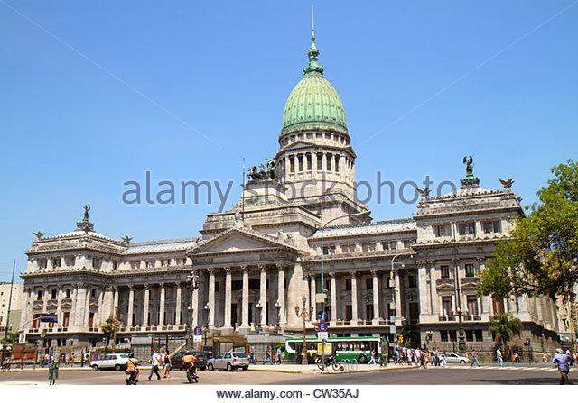 Buenos Aires Argentina Avenida Rivadavia Hispanic Palacio del Congreso de la Nacion National Congress Palace capitol - Stock Image