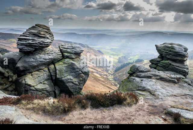 Outcrop of Gritstone on the top of Edale moor overlooking Edale in Derbyshire, England, U.K. - Stock Image