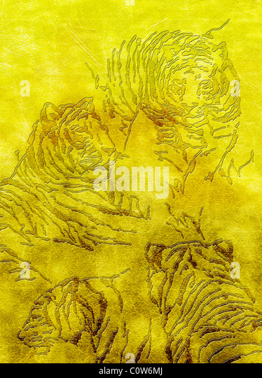 Relief of Tiger on Gold Backgrounds - Stock-Bilder