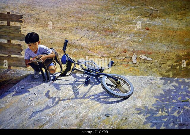 Cee Cadid, Kreco and his Blue Bike, 1992. Oil on canvas. - Stock Image