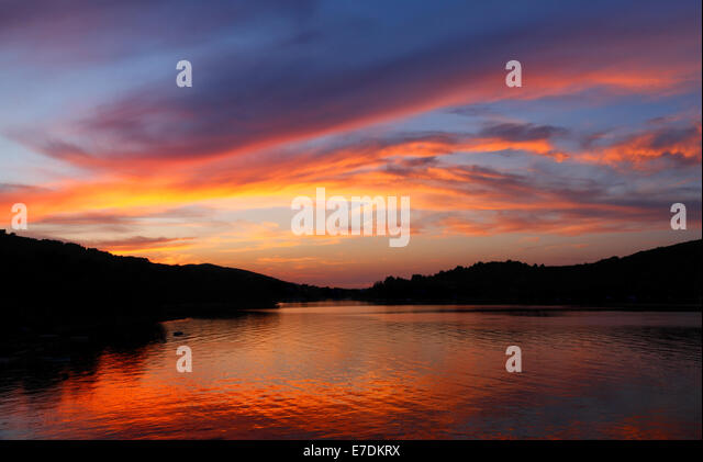 Cloudy sunset at Dugi otok in Croatia - Stock Image