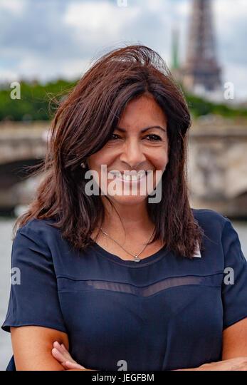 Paris, France. 24th Jun, 2017. Anne Hidalgo, mayor of Paris, photgraphed during the Paris Olympic Games 2024 showcase. - Stock Image