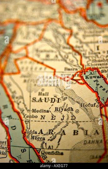 Saudi Arabia on an antique map - Stock Image