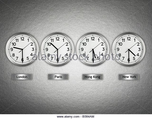 International wall clocks - Stock-Bilder