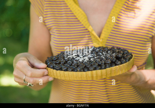 Mid section view of a woman holding a blueberry pie - Stock-Bilder