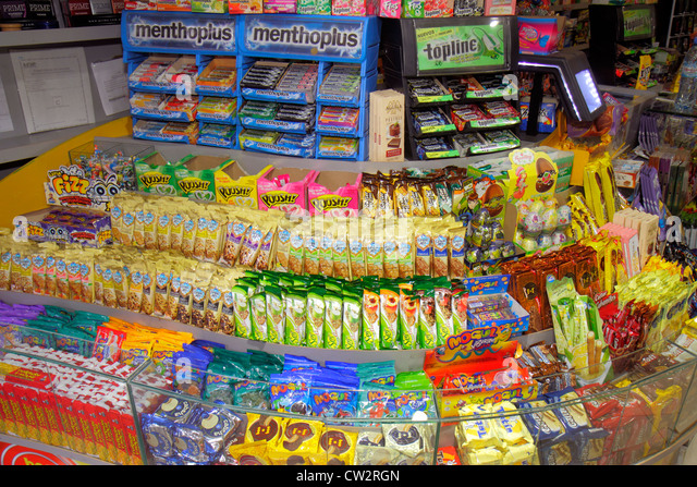 Argentina Mendoza Avenida San Martin convenience store business shopping breath mints gum candy snacks confectionery - Stock Image
