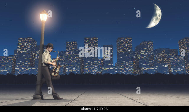 Man playing saxophone at the heart of the night in the city. This is a 3d render illustration - Stock Image
