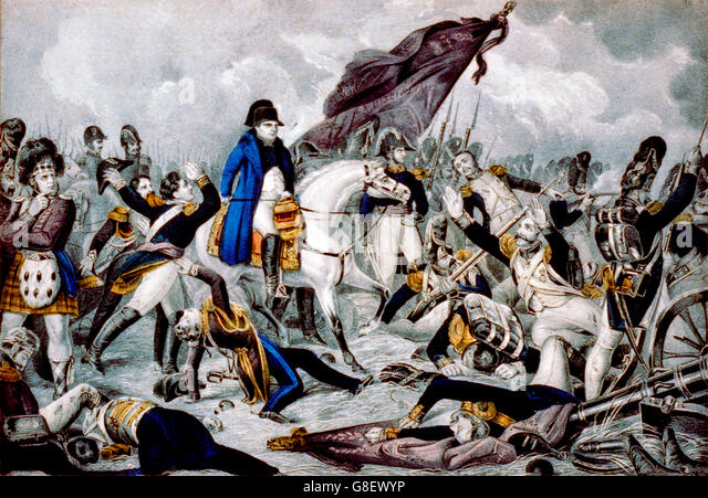 Napoleon on horseback at the Battle of Waterloo, June 18th 1815. Lithograph by N Currier, between 1835 and 1856 - Stock Image