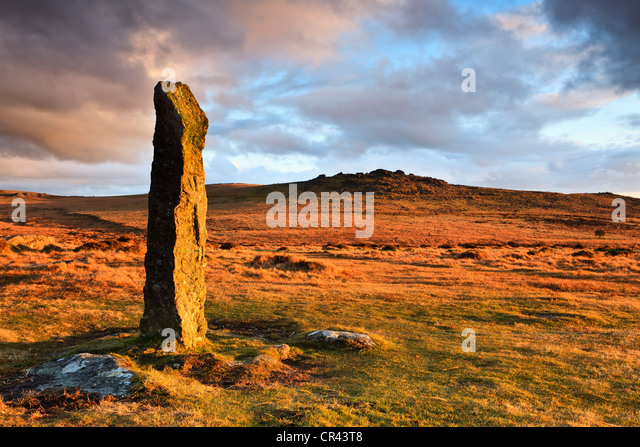 Late afternoon light at Merrivale, in Dartmoor National Park, Devon, UK - Stock Image