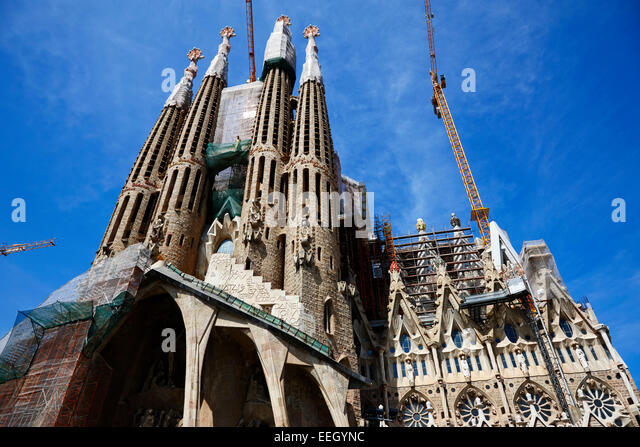 the passion facade of the Sagrada Familia Barcelona Catalonia Spain - Stock Image