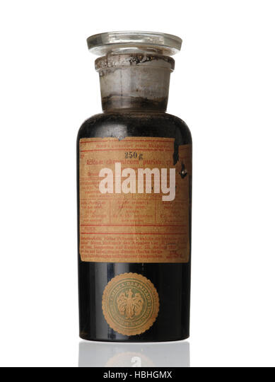 E. Merck Darmstadt old chemical bottle. Made in Germany. Acidium chromicum puriss - Stock Image