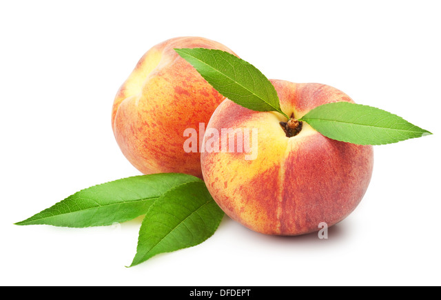 Ripe peach fruit with leaves on white background - Stock Image