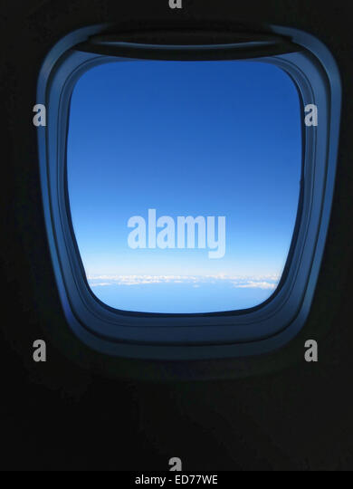 view from airplane window while in flight - Stock-Bilder