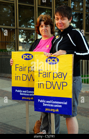 PCS members on picket line outside job centre during strikes against public sector cuts, Southampton, Hampshire, - Stock Image