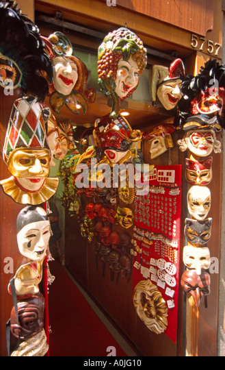 Italy Venice carnival masks shop - Stock Image