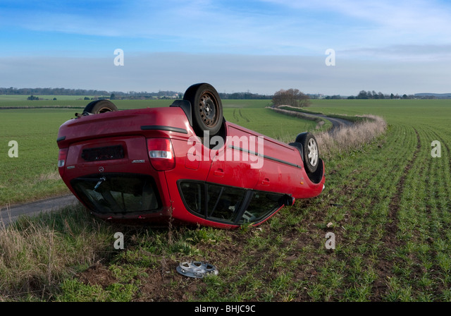 Road accident scene on a country road. - Stock Image