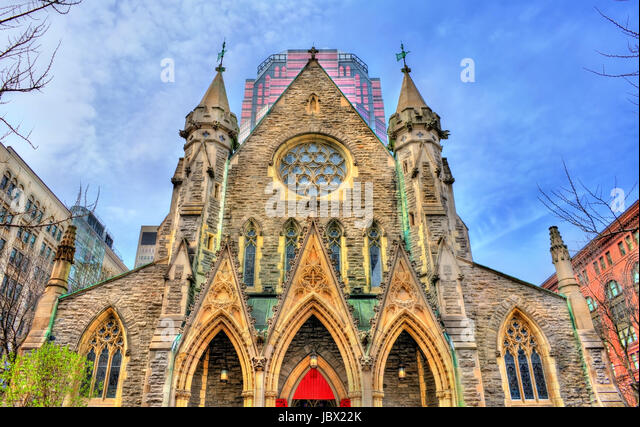 Christ Church Cathedral in Montreal, Canada - Stock Image
