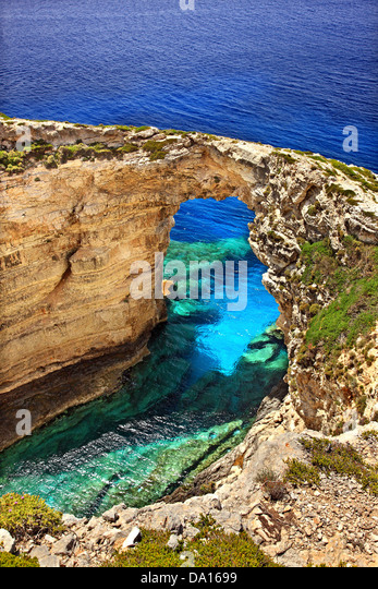 Trypitos (also known as 'Kamara'), a natural rocky arch at Paxos ('Paxi') island, Ionian Sea, Eptanisa - Stock Image