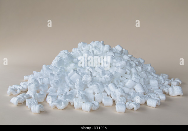 packaging shapes white polystyrene material - Stock Image
