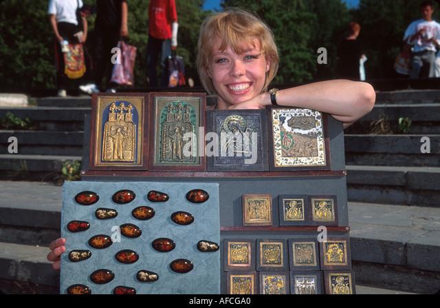Russia former Soviet Union Kostroma souvenir vendor - Stock Image