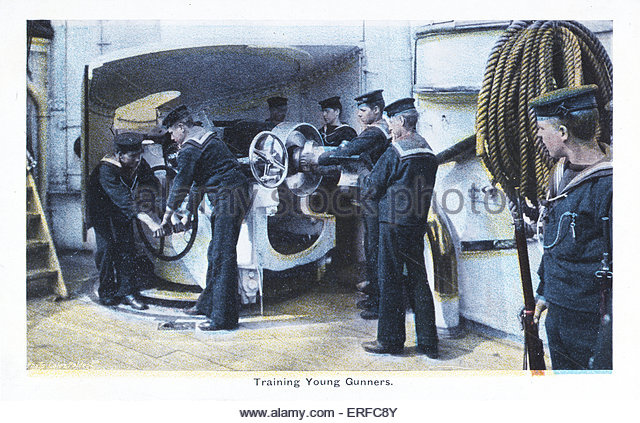 'Training Young Gunners', early twentieth century maritime postcard. - Stock Image