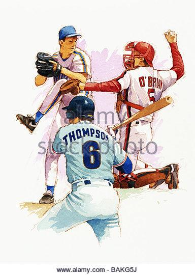 Three Baseball Players - Stock-Bilder