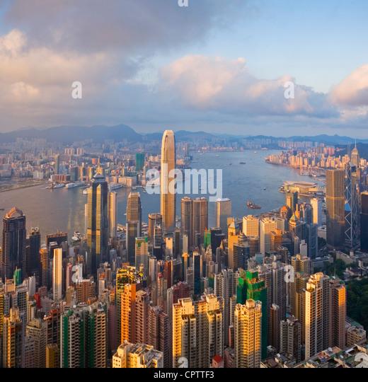 Hong Kong harbor from Victoria Peak - Stock Image