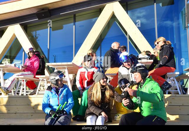 Switzerland, Canton of Grisons, the Engadine, St. Moritz, Corviglia, ski lounge, ski celebrities - Stock Image
