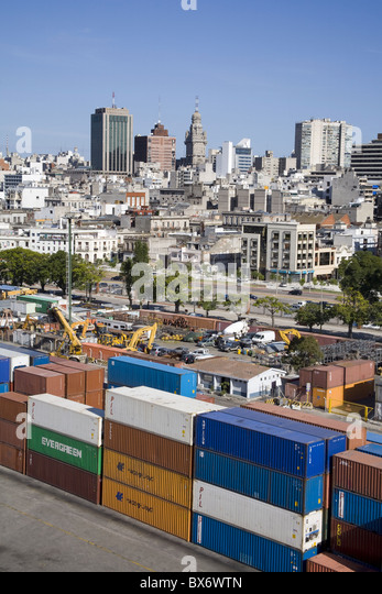 Container Port and city skyline, Montevideo, Uruguay, South America - Stock Image