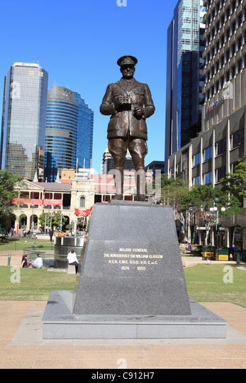 Bronze sculpture of the Major General The Honourable Sir William Glasgow in Anzac square in Brisbane. Date Shot - Stock Image